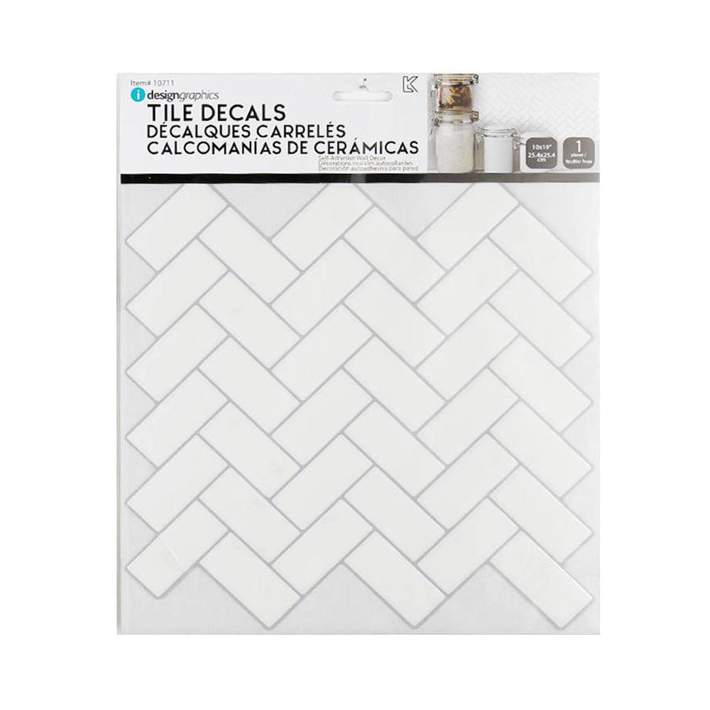 tile wall decals peel and stick self adhesive herringbone 10 x10 idesign