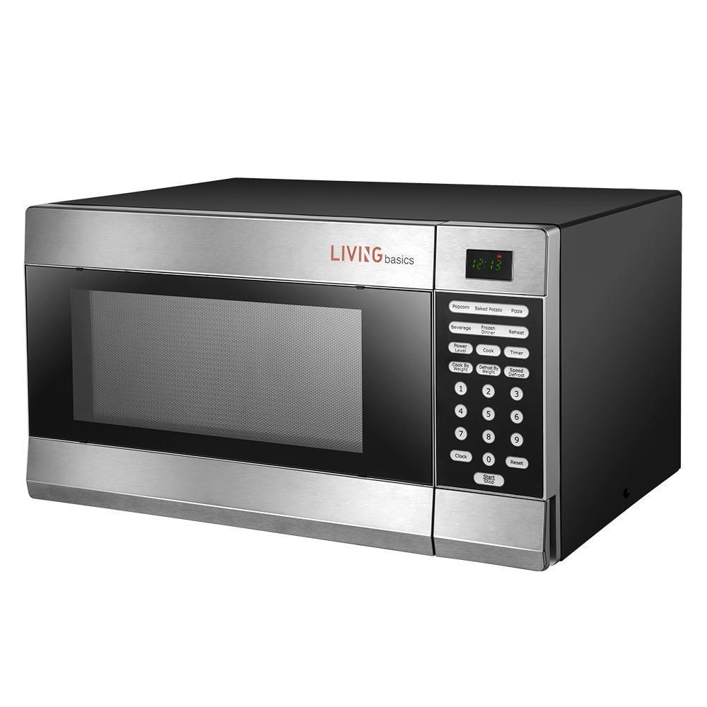 1 1 cu ft microwave oven stainless steel livingbasics