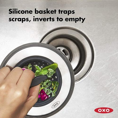 oxo good grips 2 in 1 sink strainer stopper black sink drain with stopper