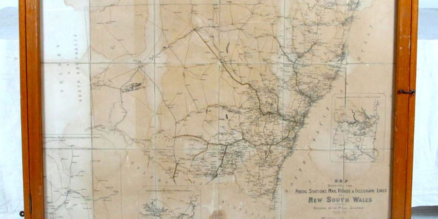 Map  framed   Mail roads and Telegraph line in NSW   fabric wood     Map  framed   Mail roads and Telegraph line in NSW   fabric wood glass  New  South Wales Post Office  Australia  1885   MAAS Collection