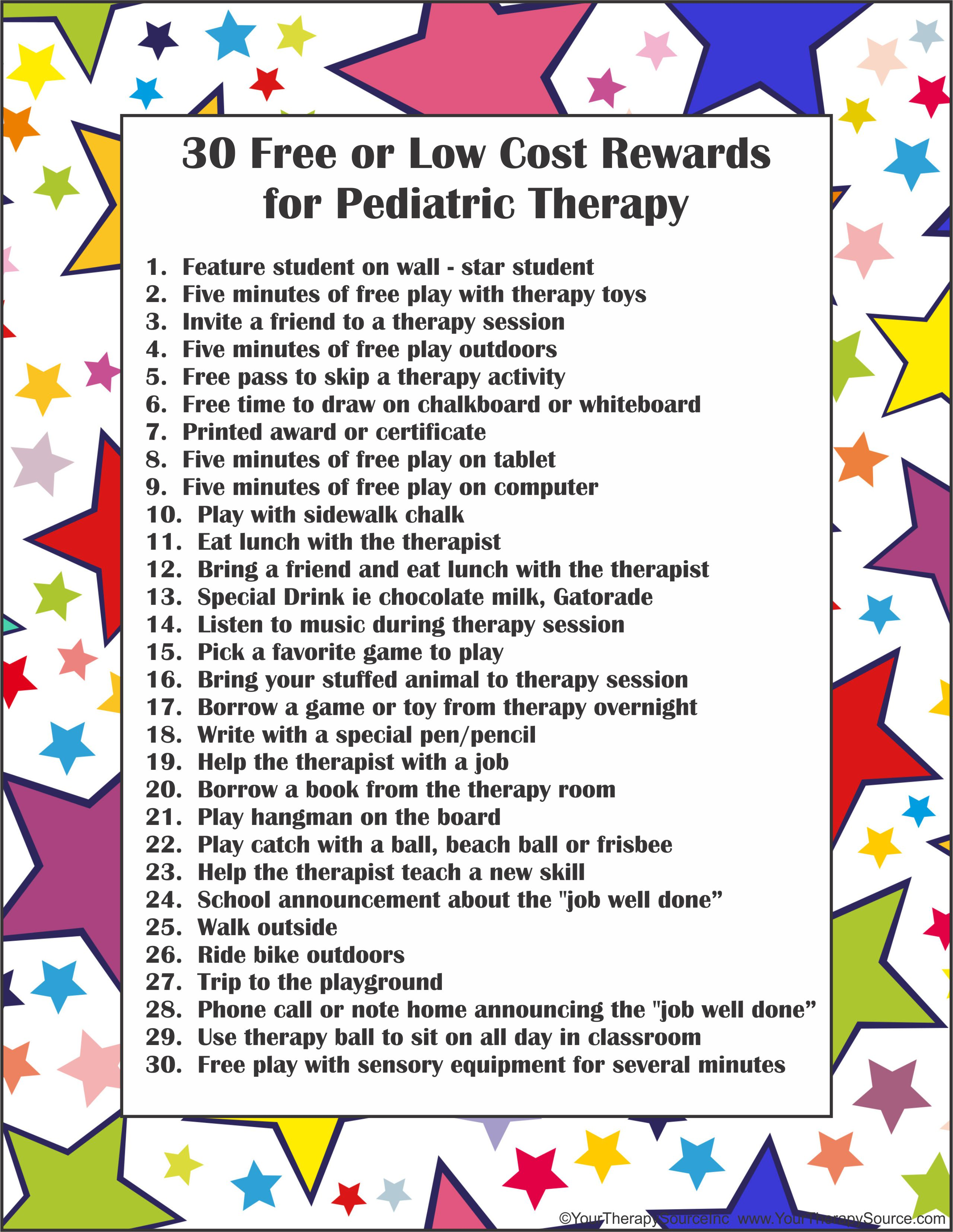 30 Free Or Low Cost Rewards For Pediatric Therapy