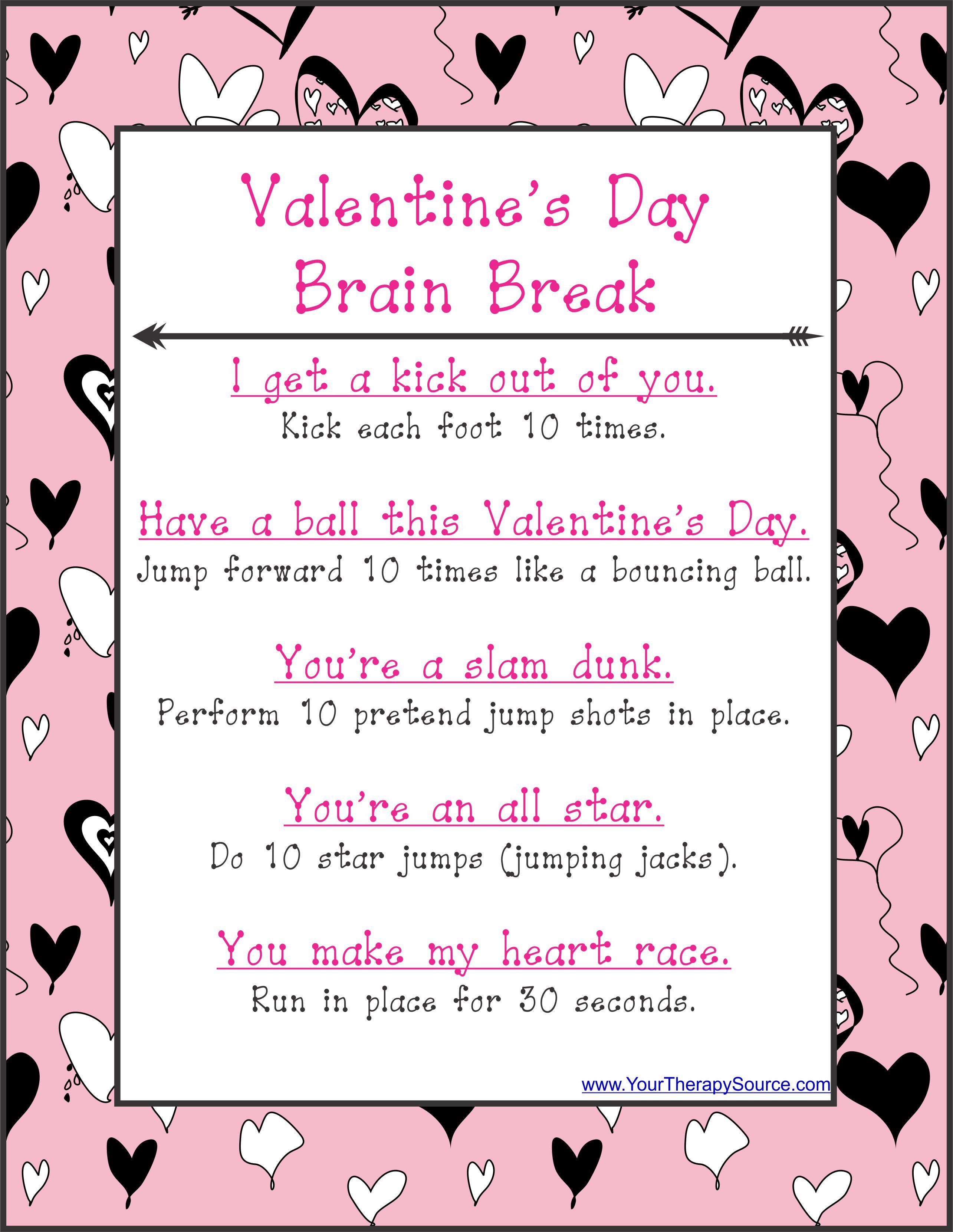 Valentine S Day Brain Break