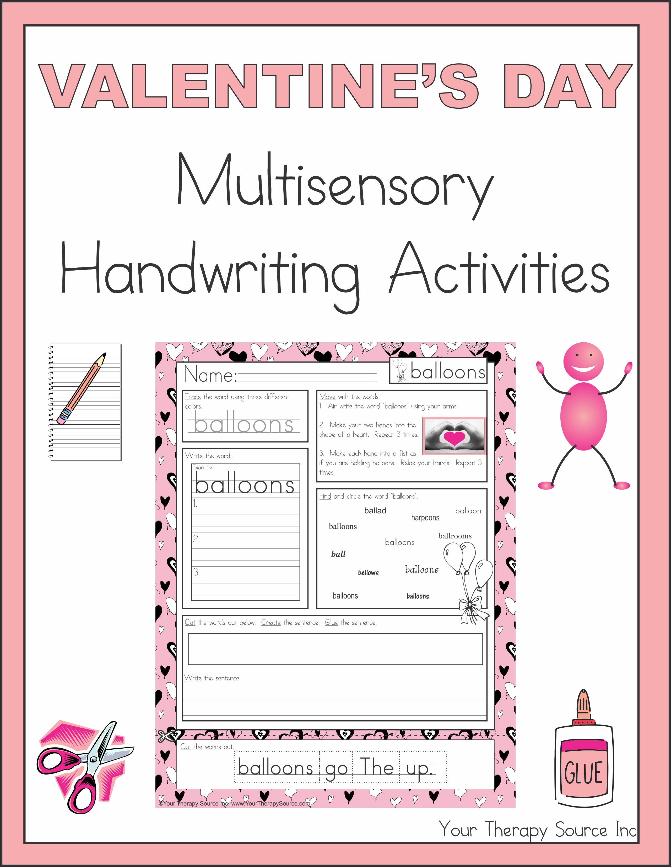 Valentine S Day Multisensory Handwriting Activities