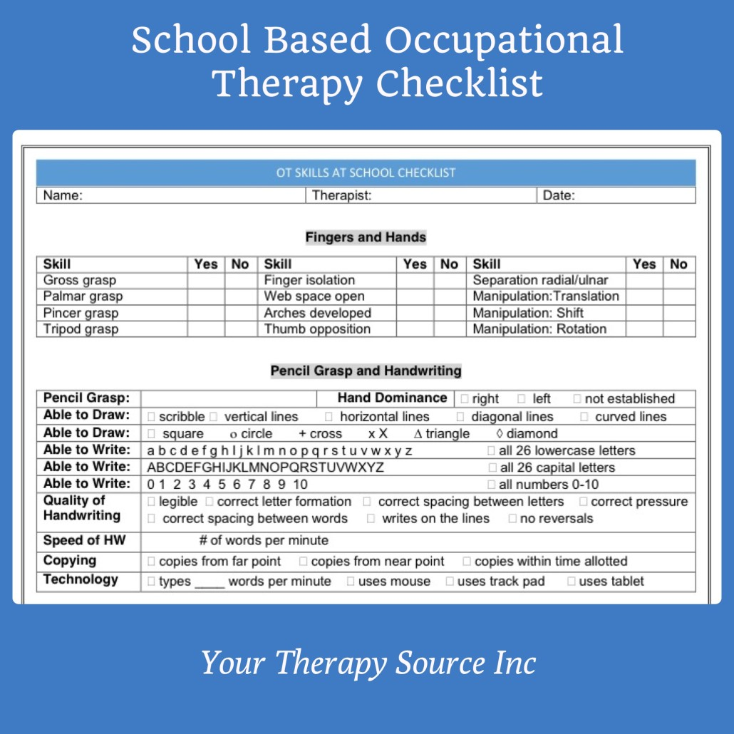School Based Occupational Therapy Screening Form Checklist