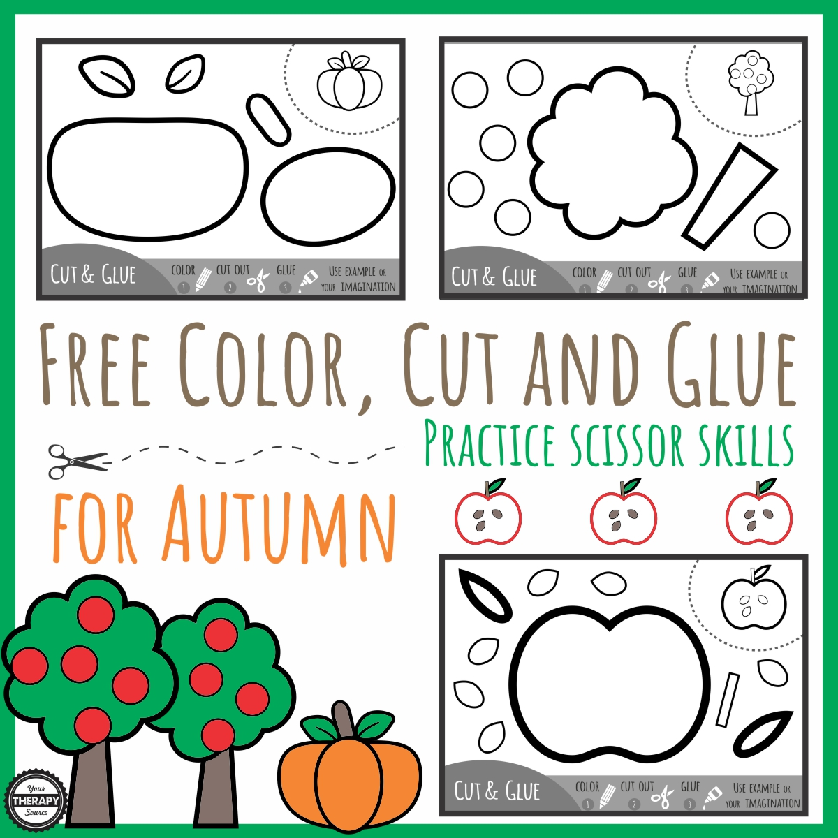 Color Cut Glue Scissor Practice For Fall