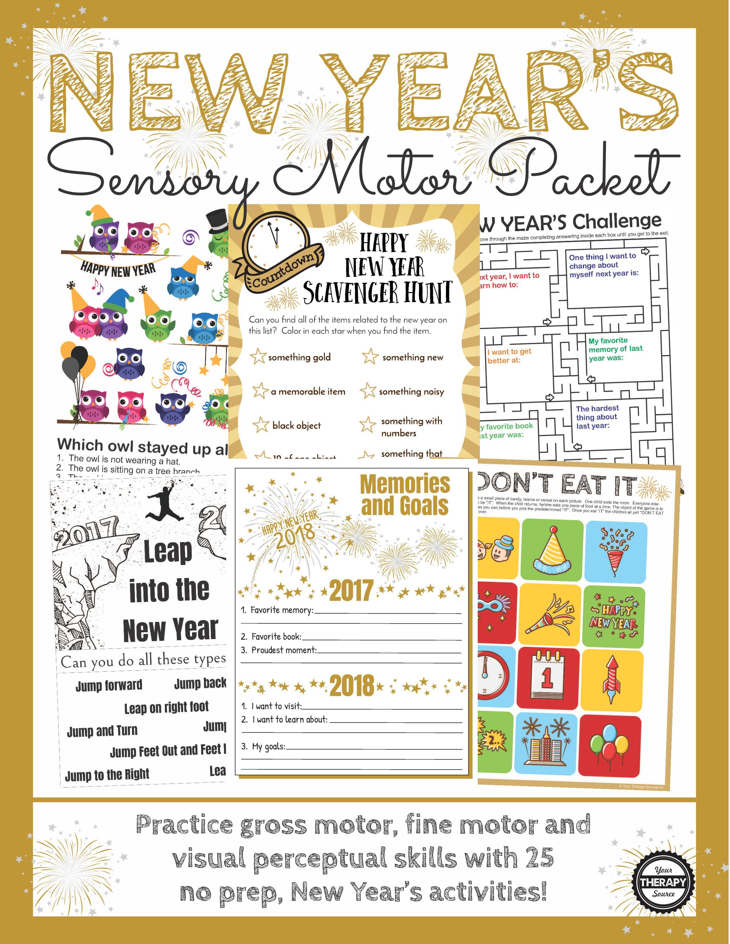 New Year S Sensory Motor Packet
