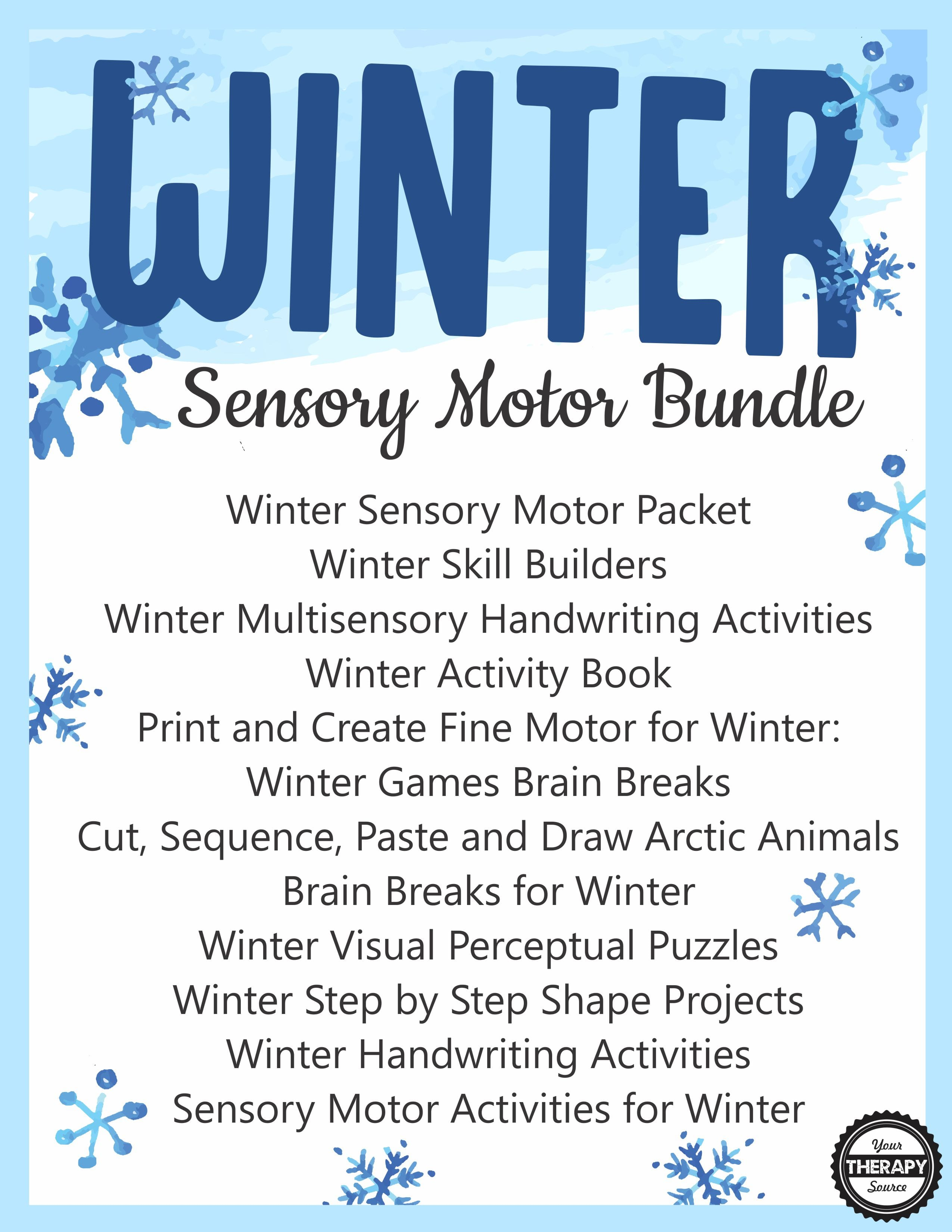 Winter Bundle For Fine Motor Gross Motor And Visual
