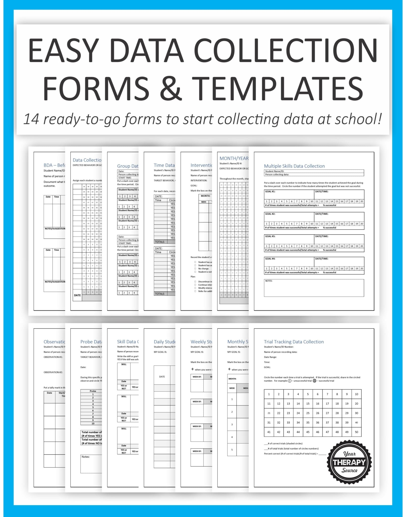 Data Collection For Special Education Templates