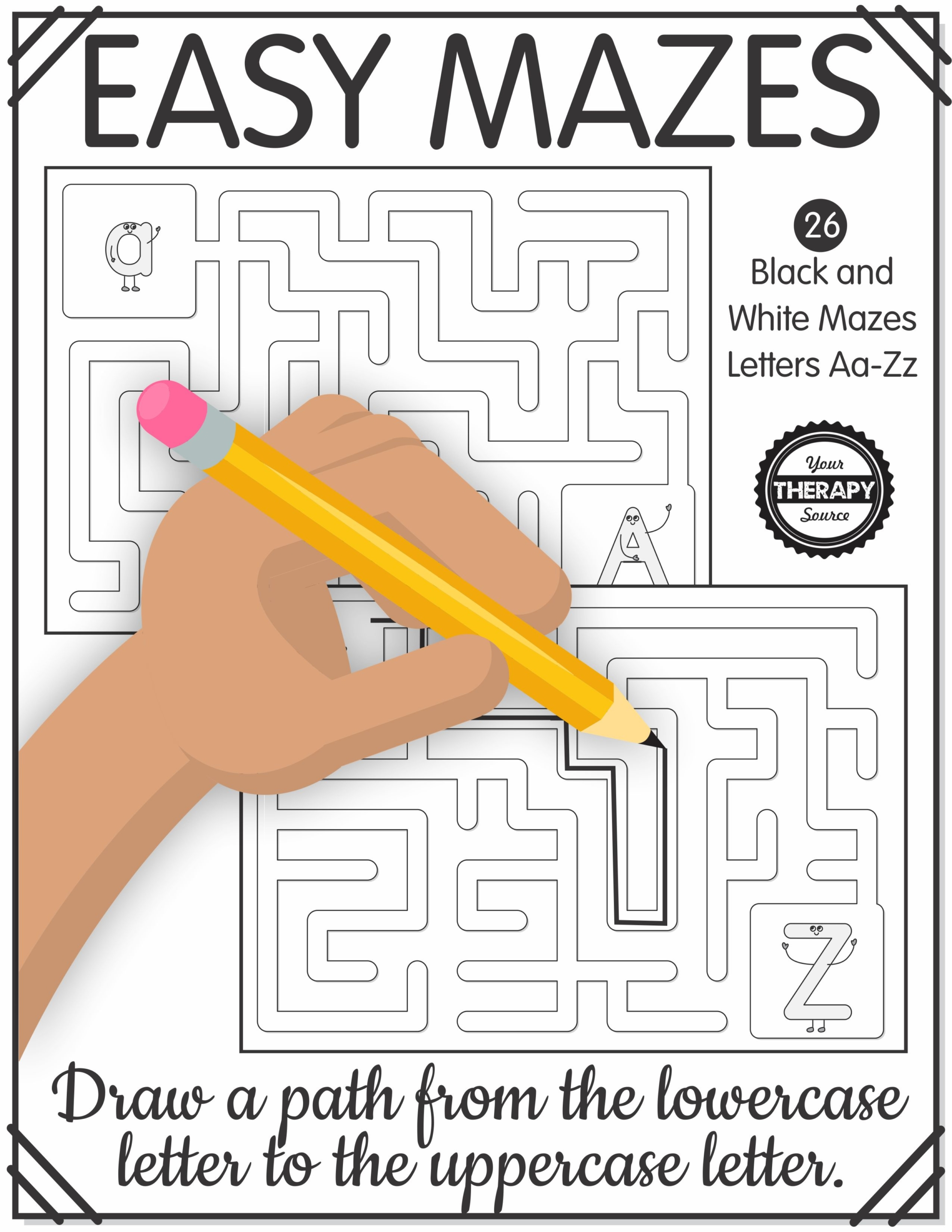 Printable Easy Mazes Letters A To Z