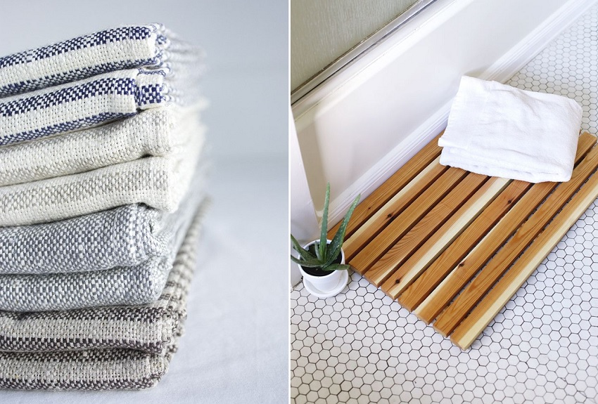 bath mat towel bathroom hack