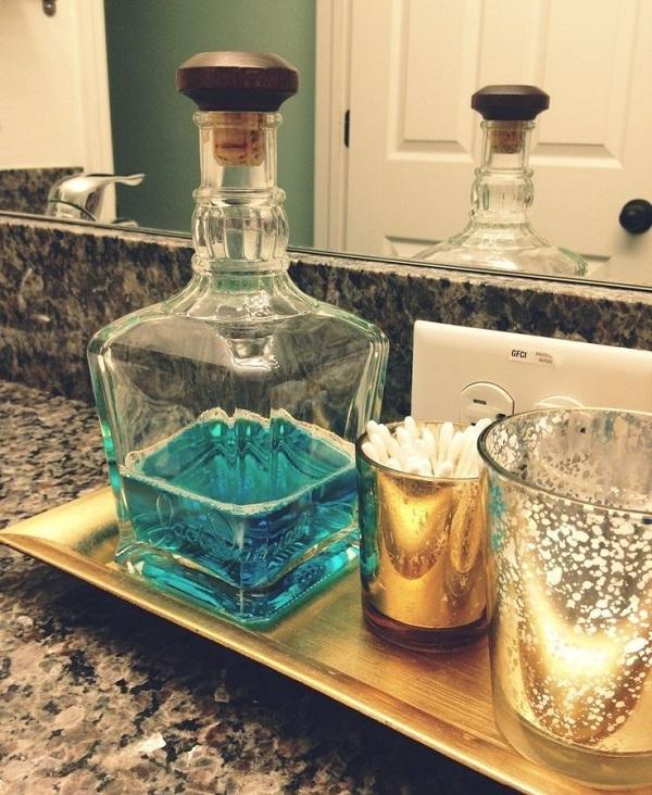 mouthwash decanter bathroom hack