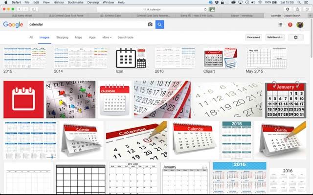 Google Image search - Calendars
