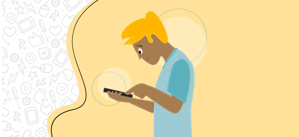 vector image illustration of a tan man with blonde hair and light blue shirt craning his neck down to look at and use phone, on a light yellow background, breaking phone addiction