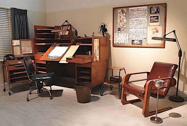 "Disney animator office with Kem Weber furniture, courtesy <a href=""https://www.waltdisney.org/"" target=""_blank"">The Walt Disney Family Museum</a>. Collection of Tony Anselmo; photo by Frank Anzalone."
