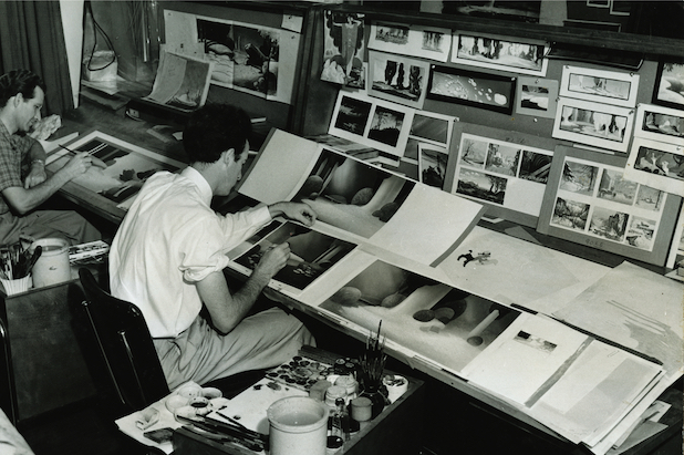 Disney artists painting backgrounds for the Pastoral sequence in Fantasia (1940) at Weber designed Pan Tables. Photo by Baskerville, © UCSB.