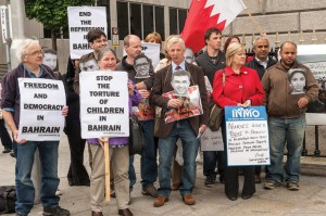 Protesters against torture in Bahrain outside the RCSI in Ireland, June 2012