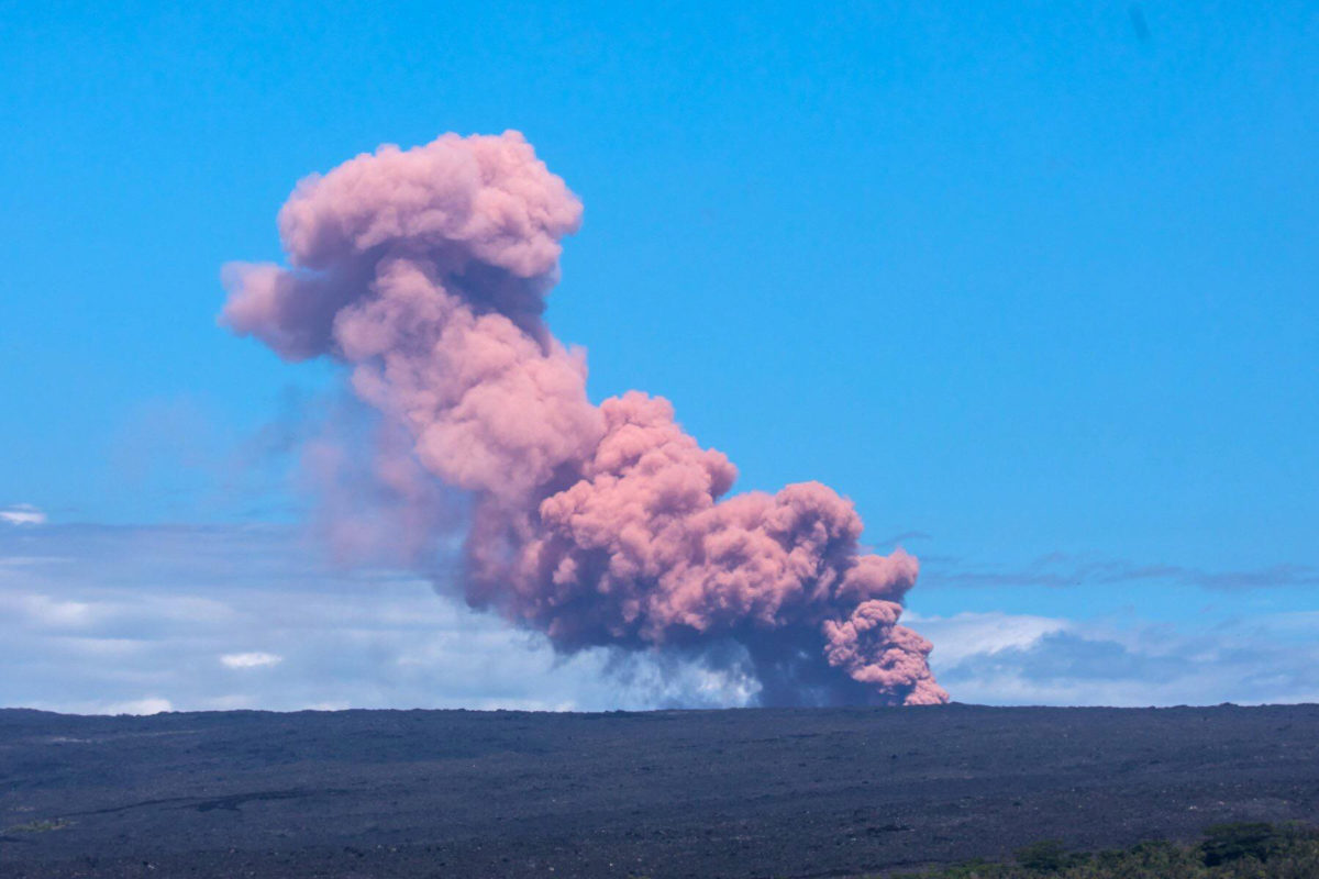 Photos Why Did The Kilauea Volcano Make A Pink Plume