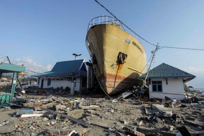The earthquake and tsunami crushed thousands of homes in Indonesia's Sulawesi region. Photo by Antara Foto/Muhammad Adimaja/ via Reuters