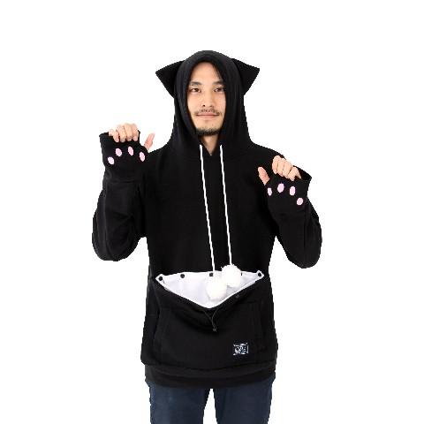 にゃんガルーパーカー(耳/萌え袖肉球/もふもふ猫じゃらし搭載) Lサイズ 黒ネコ色