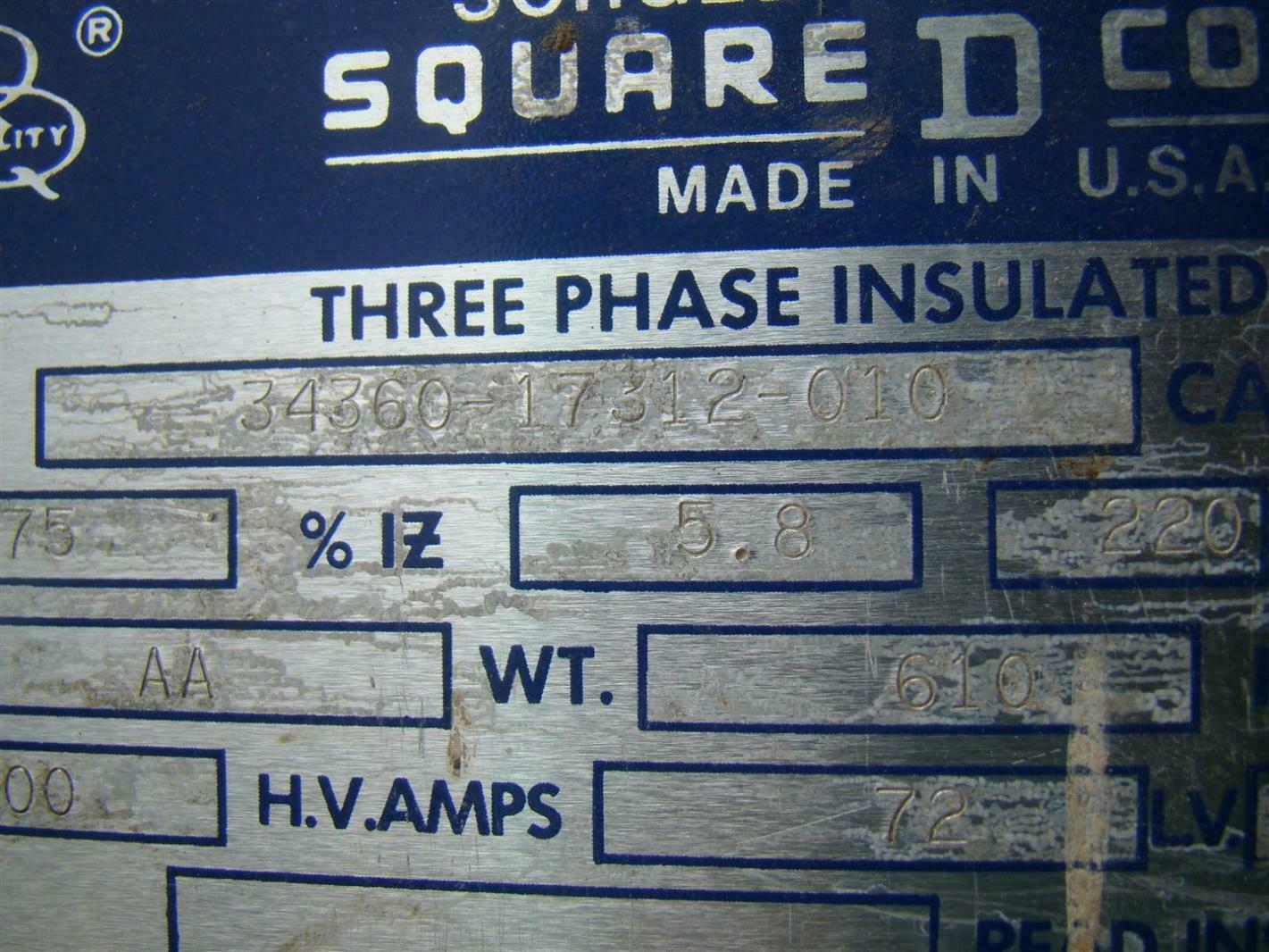 Square D 3 Phase 75 Kva Transformer 600x208y 120 Volt