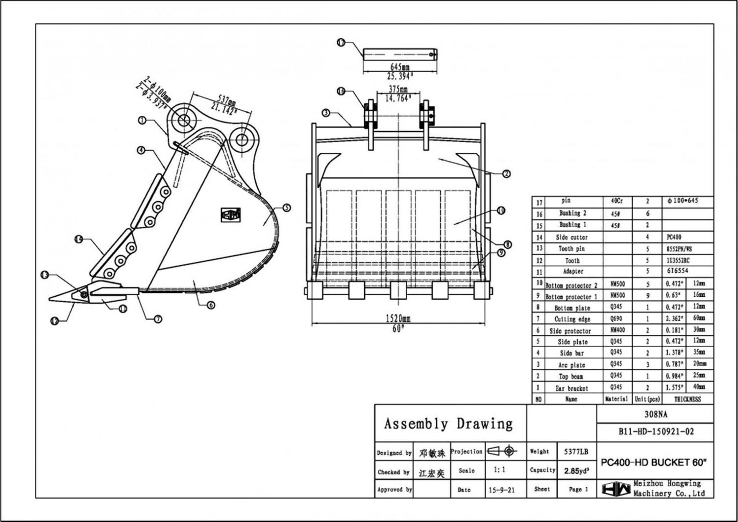 60 Heavy Duty Excavator Bucket Komatsu Pc400 100mm Pins