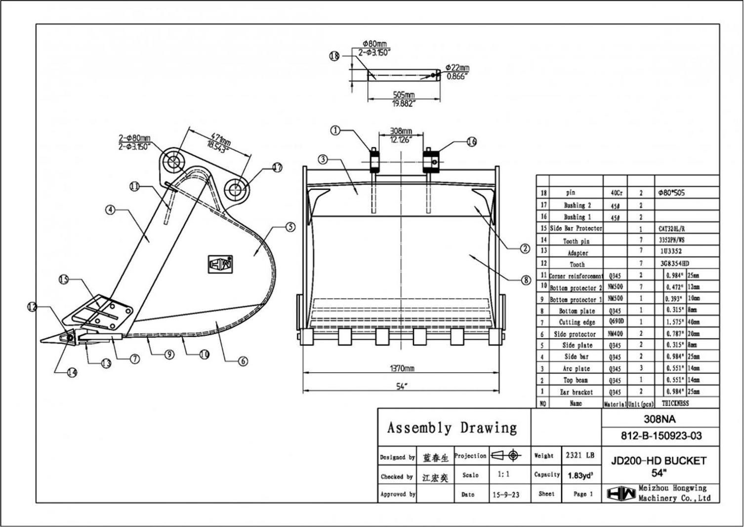 54 Heavy Duty Excavator Bucket John Deere 200 80mm Pins