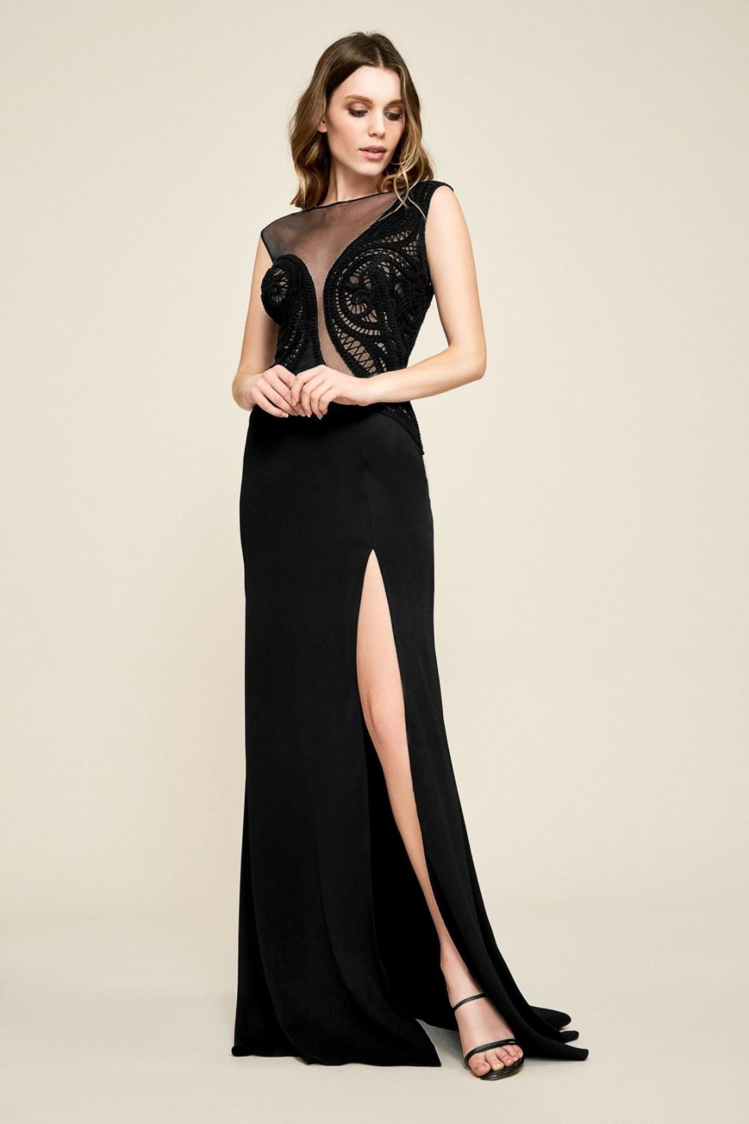 Haute Couture Fashion Week Extra Big Size Mysty Black Zip Hoodie Blouse Fit 6l Plus Tadashi Shoji 46800 Cruz Crochet Crepe Gown