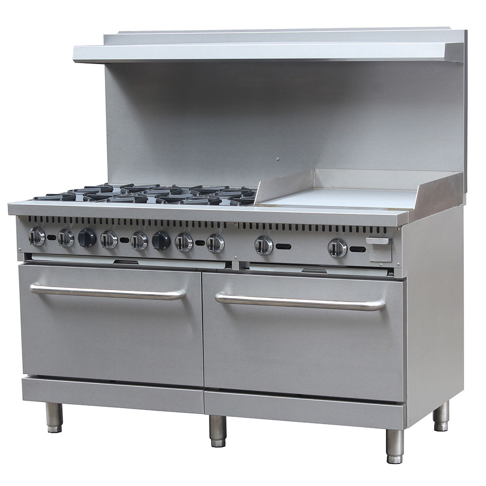 gas range w 6 burners and oven natural thor kitchen hrg4808u 48in stainless steel