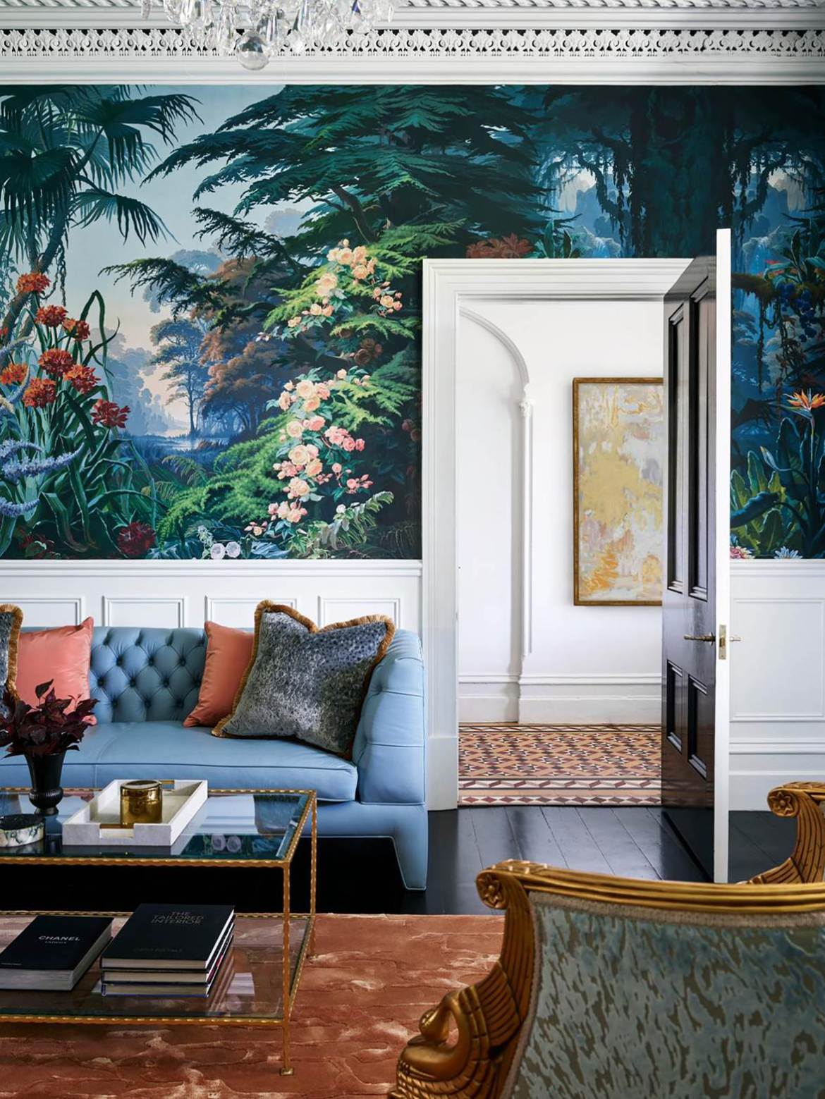 "Splendid vision from architect Daniel Boddam and interior designer Stacey Kouros for transformed a tired [1880s terrace](https://www.homestolove.com.au/glamorous-makeover-of1880s-terrace-21031|target=""_blank"") in Sydney into a glorious, glamorous and comfortable home.The feature wallpaper is the masterstroke in the design of the formal living room."