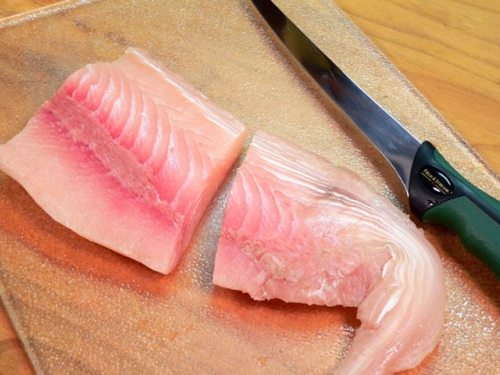 mahi-mahi recipe - cut into portions