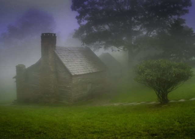Parkway Cabin in the Fog by Ted Alley