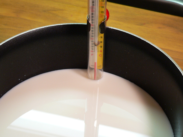 You'll also want to set up a thermometer so you can bring the milk up to the proper temperature.