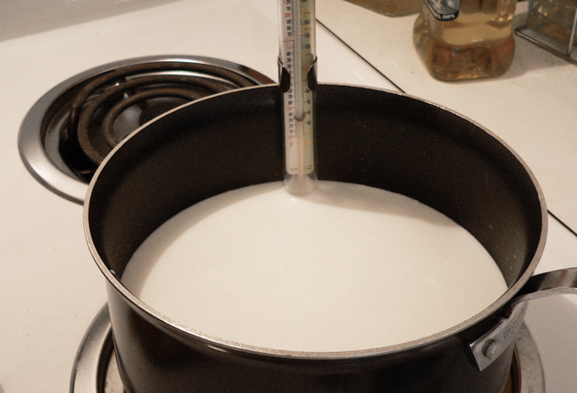 Stir, stir, and keep stirring, all the way to the bottom, as the Milk is brought up to 170°F. It's really easy to have some milk sticking to the bottom of the pot. Just keep stirring and watching the thermometer until it reaches the proper temperature.