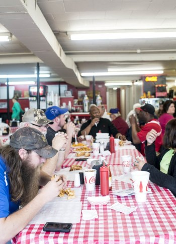 The lunch crowd at Jones Lunch in Clayton, NC.