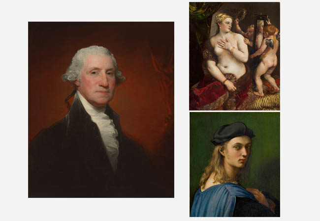 The famous faces of the National Gallery of Art — including George Washington as portrayed by Gilbert Stuart, Bindo Altoviti as portrayed by Raphael, and Venus as portrayed by Titian — took up residence in the Biltmore House for safekeeping during World War II. • Photos courtesy of National Gallery of Art, Washington, Gallery Archives