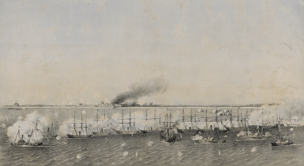 Union gunboats bombard Fort Fisher as Confederate troops futiley return fire. What began on Christmas Eve culminates in two battles — and almost three weeks — later in a rout by Union forces. Image courtesy of The Library of Congress.