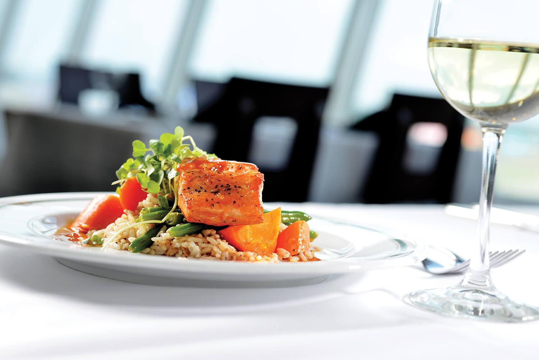 When it's not race day, citrus salmon makes the menu.