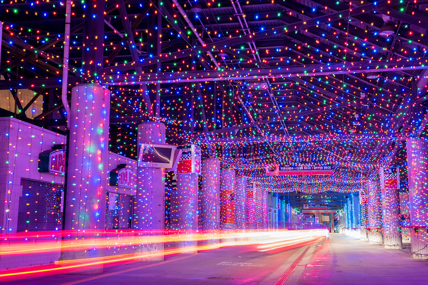 charlotte motor speedway at a more leisurely pace than your favorite nascar drivers revelers can take in more than 3 million lights that line the track