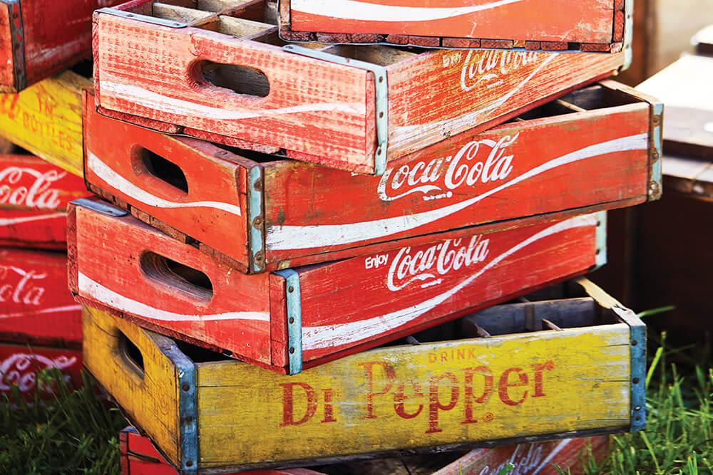 wooden soda crates