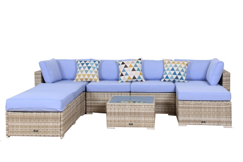 broyerk 7 piece light blue outdoor rattan sectional furniture set with lounge chair broyerk