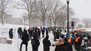 Manifestation pour la Messe devant l'Assemblée nationale du Québec