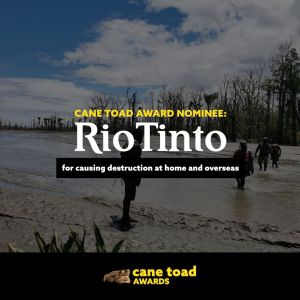 X Rio Tinto - for causing destruction at home and overseas