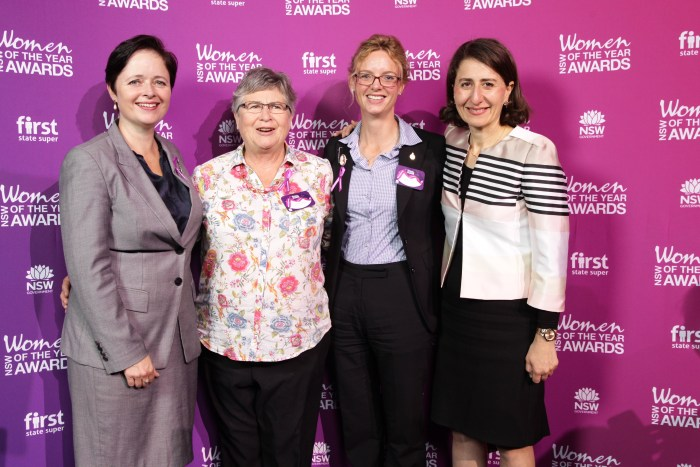 Minister for Women Tanya Davies, Cootamundra Local Woman of the Year Pam Halliburton, Steph Cooke MP and Premier Gladys Berejiklian
