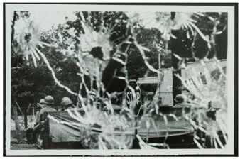 Detroit riot scene through a bullet-shattered windshield EDDIE  ADAMS/AP