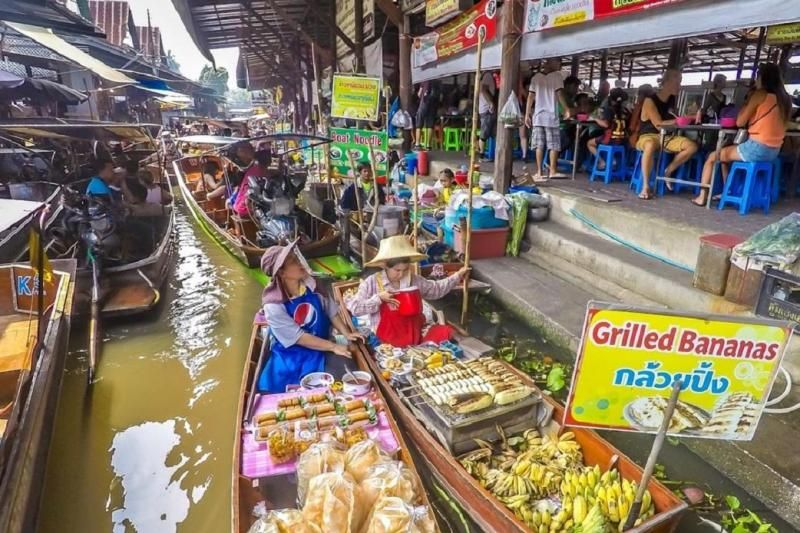Explore Train Market and Bike Ride to Traditional Thai Village