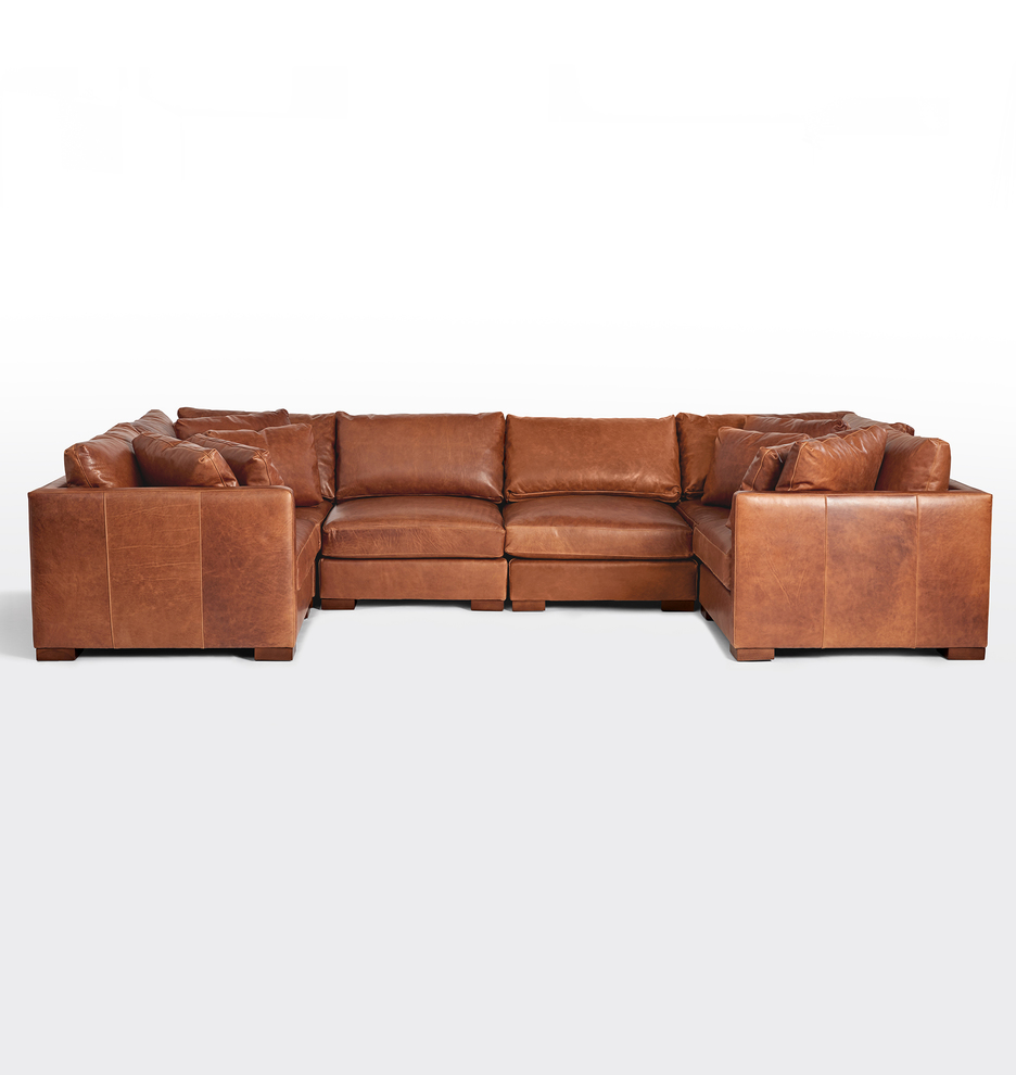 wrenton 6 piece u shape leather sectional sofa