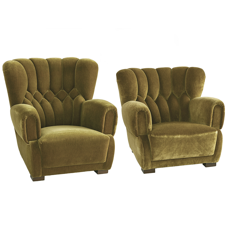 Pair Of Tufted Art Deco Lounge Chairs In Original Velvet Rejuvenation