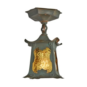 Antique Ceiling Lights   Vintage Ceiling Lights   Rejuvenation Rare Patinated Copper Arts   Crafts Japanesque Entry Fixture