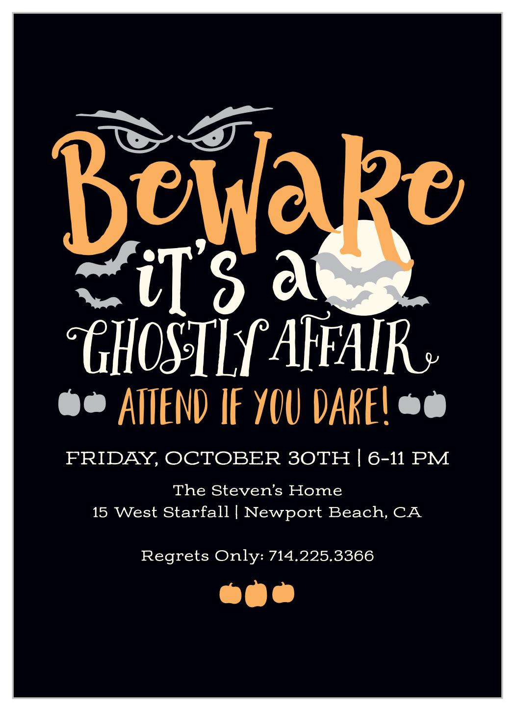 ghostly affair halloween invitations
