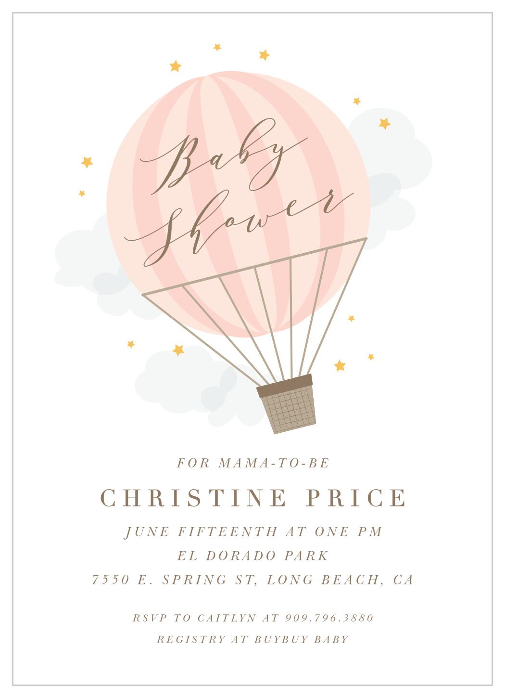 air balloon baby shower invitations